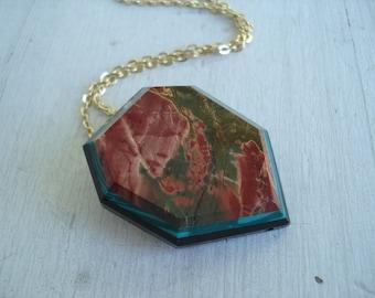 SALE Picasso Jasper Intaglio Pendant Brooch Necklace Evergreen Red Rock Grand Canyon