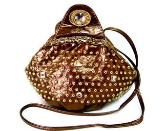 Vintage Bronze Leather Bag Gold Brass Studded and Rhinestone Crossbody purse made in USA