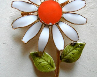 Vintage White Enamel Daisy Brooch Pin