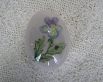 Clearance Easter Egg hand painted Pansy and lady bug on porcelain