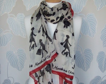 1990s Moschino Cheap and Chic Long Silk Scarf