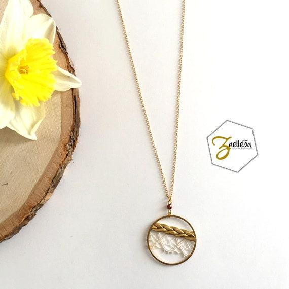 "Necklace pendant gold round lace gold braid - model ""Dream"" al. HOLI / / Zaelleza - hippie / Bohemian / wedding / Bridal"