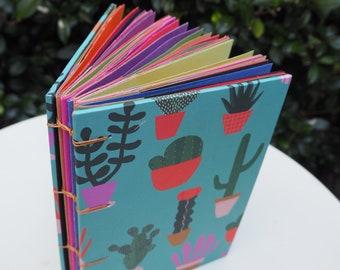 Cactus print A5 coptic bound notebook