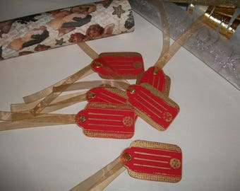 Set of 6 labels are handmade, red and gold