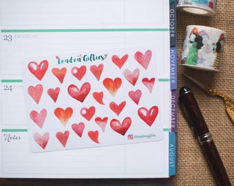 Red and pink hearts - decorative watercolour planner stickers suitable for any planner -378-