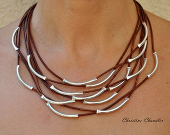Leather Necklace - Leather and Sterling Silver Necklace - Christine Chandler - 8 Strand Neckalce - Leather Jewelry - Sterling Silver Jewelry