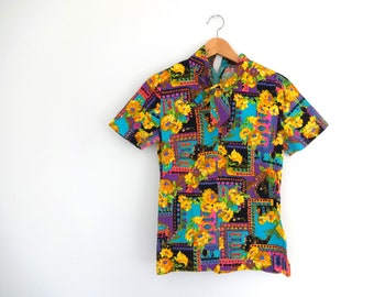 Vintage PSYCHEDELIC Top • 1960s Clothing • Neon Floral Bright Geometric Print Black Short Sleeve T Shirt Blouse • Women Size Small Medium