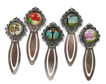 Tree Glass Cabochon  Book Mark Choose One (S6)