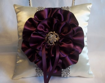 Ring Bearer Pillow embellished with an Eggplant Purple and Rhinestone Mesh Trim