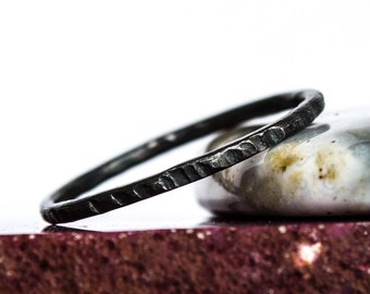 Oxidized Hammered Sterling Silver Stacking Ring
