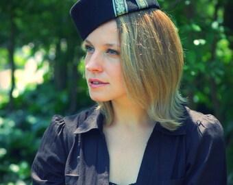 Russian Pillbox Black felt vintage style hat