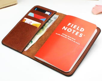 Field Notes cover, Handmade pocket notebook wallet, Brown leather Field Notes wallet