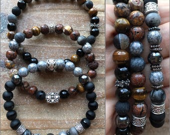 Men's beaded bracelet trio