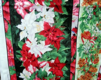 "Fabric Red & White Poinsettias w.Pine Cones in Panels 71"" x 44"" Licensed"