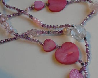 Pink heart beaded necklace