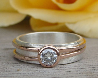 Moissanite Engagement Wedding Ring with Recycled 14k Rose Gold and Recycled Sterling Silver, Asymmetrical, Two Tone, Unique, Made to Order