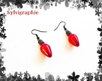 Red Christmas bulb earrings