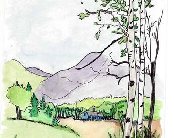 Original Pen, Ink and Watercolor Painting - Mountainous Scene - Birch Trees / Blue Cabin / Green Valley