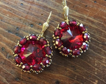 New color!  Scarlet red crystal earrings, red earrings, scarlet earrings, ruby earrings, red Swarovski earrings