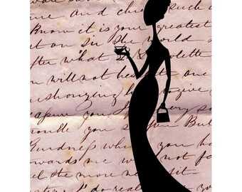 Pink Champagne-print, Girl's art, print,