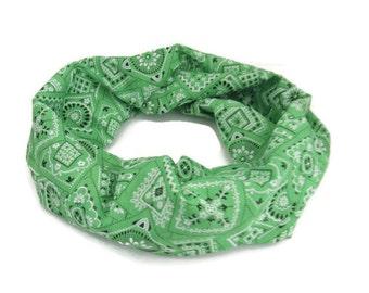 Green Bandana Print Infinity Loop Circle Scarf