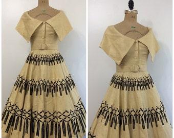 1950s Novelty Print Tassel Party Dress 50s Flocked Border Print