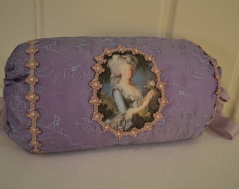 Muff, 18th Century, Marie Antoinette embroidered PURPLE silk muff ~ 100% white goose down