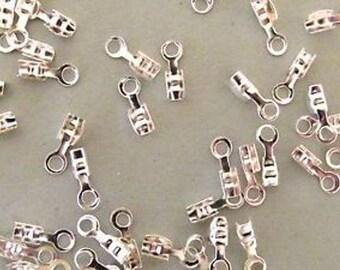 Lot 100 crimp caps silver 6.3x7.3mm