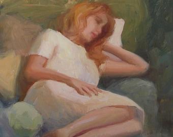 "Painting of Woman, Reclining Woman, Figurative, Figure, ""Tani Reclining"", original oil painting, 14""x11"", by Sherri Aldawood"