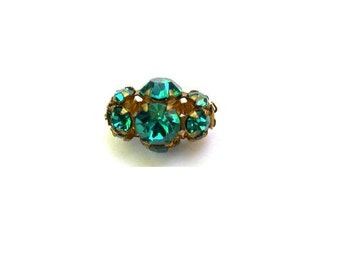 2 SWAROVSKI  vintage beads blue green crystals in metal setting RAER SHAPE genuine 1100 made in Austria