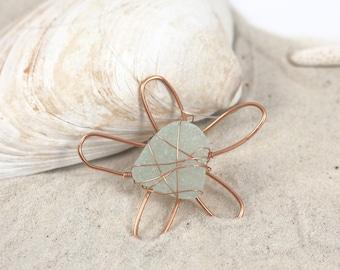 Aqua Copper Sea Glass Daisy Flower Necklace Pendant