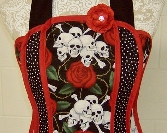 Skulls & Roses / Women's Retro Apron / Exquisite Gothic cotton print of Black, White and Luscious Red / Shower Gift / Ladies Gift /  #A57