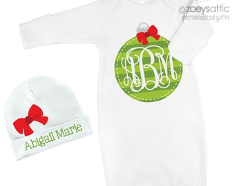 Christmas infant gown and optional matching cap set newborn gown and cap with green ornament monogram - great shower or new baby gift