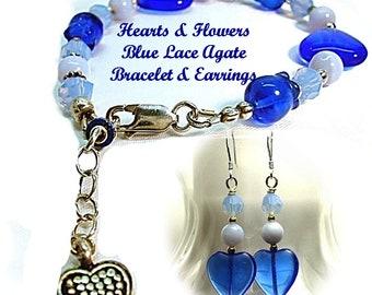 Blue Lace Agate Bracelet, Fifth Chakra Jewelry, Crystal Silver  Heart Bracelet and Earrings,Fifth Chakra Bracelet B0911-17