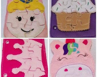 Girl Felt quiet puzzle book-4 felt puzzles Princess girl, cupcake, crown, unicorn Felt Puzzle, school busy bags quiet #P83