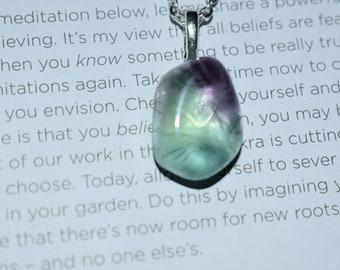 crystal healing tiny fluorite stone pendant necklace