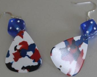 Handmade Earrings,Red White and Blue Earring,USA Earrings,French Earrings,Bulgarian Earrings,Dangle Earrings,Wire Earrings Dice Earrings
