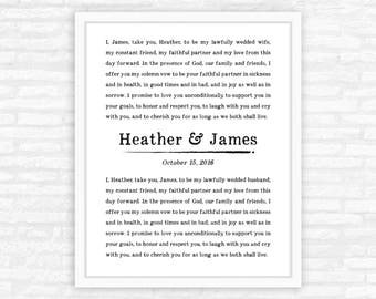 First Anniversary Gift, Custom Wedding Vows Print, Personalized gift, giclee art print