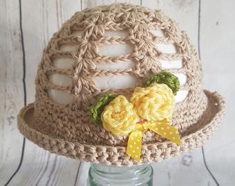 hand made crochet baby/child summer sun hat gift