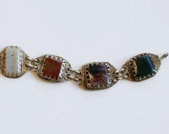 1960s Afghan kuchi agate link bracelet / 60s vintage Afghani silver earth tone agates stone tribal bracelet / ethnic nomadic tribe bracelet
