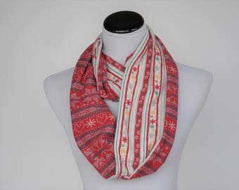 Reversible Scarf Red Fair Isle Infinity Scarf Scandinavian Nordic Christmas scarf jersey knit snood scarf  loop scarf red white scarf