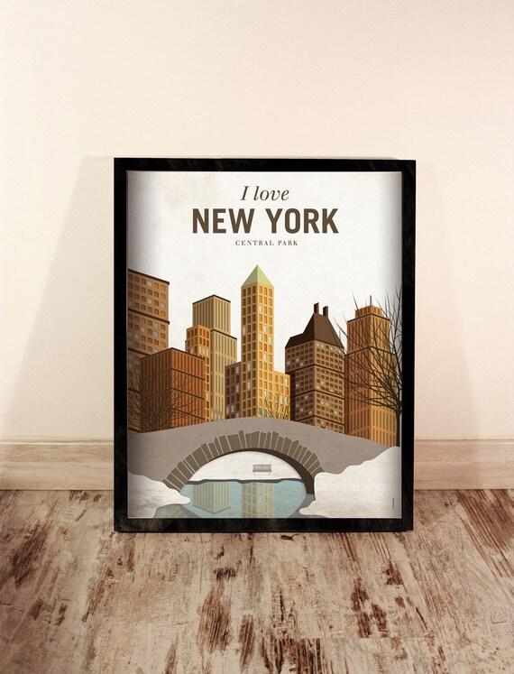 New York. EEUU.  Wall decor art. Poster. Illustration. Digital print. City. Travel.