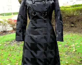 Vintage 1990s Cynthia Rowley mod black aline dress