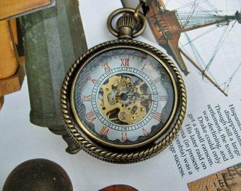 19th Century Pocket Watch, Brass Mechanical Magnifying, Pocket Watch Chain - Steampunk, Groomsmen - Item MPW251
