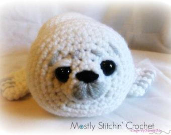 White baby seal; CROCHET PATTERN PDF