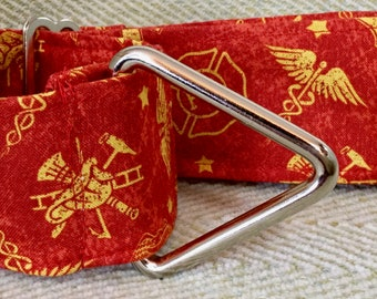 2 Inch Martingale, Dog Collar, Sighthound, Greyhound, First Responder, Red and Yellow