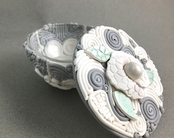 Candy or incense dish polymer clay over glass white with gray and green with cover
