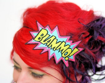 Blammo comic headband Pink, turquoise and yellow embroidered