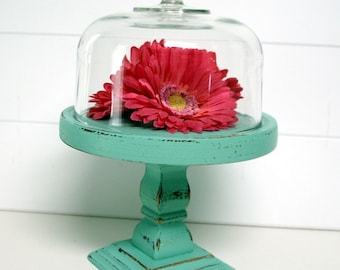 Upcycled Shabby Chic Pedestal Cloche in Seafoam by speckleddog on Etsy