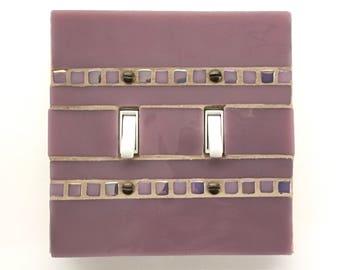 Mosaic Switch Plate, Lavender Light Switch Cover, Decorative Switchplate, Light Switch Plate, Stained Glass Wall Plate, Glass Art, 8755